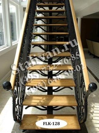 Кованый каркас лестницы FLK-128-1 на одном косоуре - фото 1