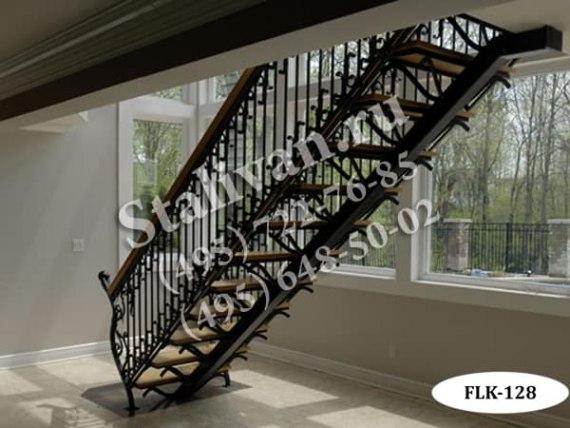 Кованый каркас лестницы FLK-128 - фото 1