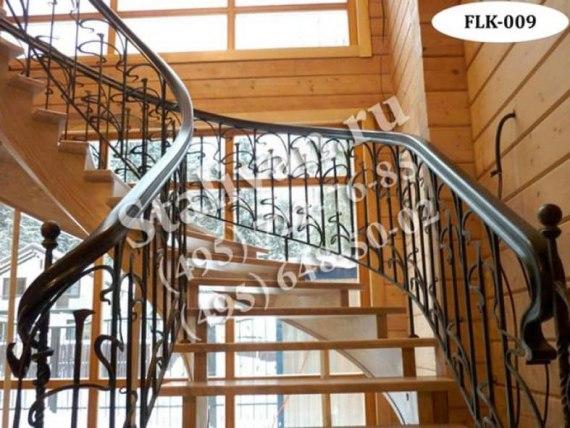Кованые перила (лестничные ограждения) FLK-009 - фото 1