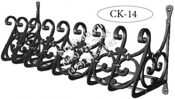 Кованая оконная цветочница CK-14 - фото 1