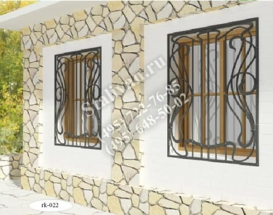 Решетка на окно с художественной ковкой RK-022 - фото 1