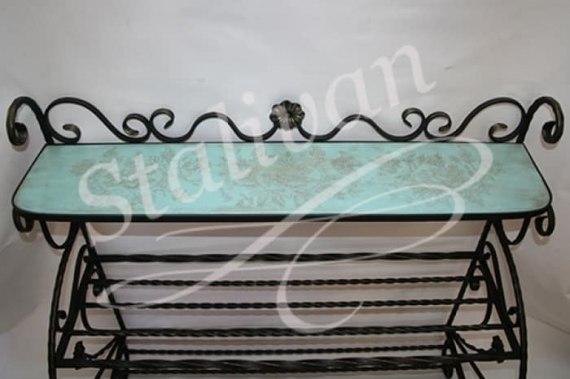 Обувница FSI-071 с росписью и ковкой - фото 1