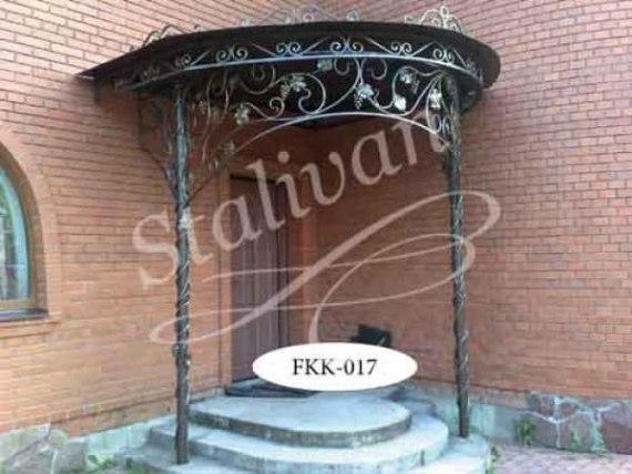 Кованый односкатный козырек FKK-017 - фото 1