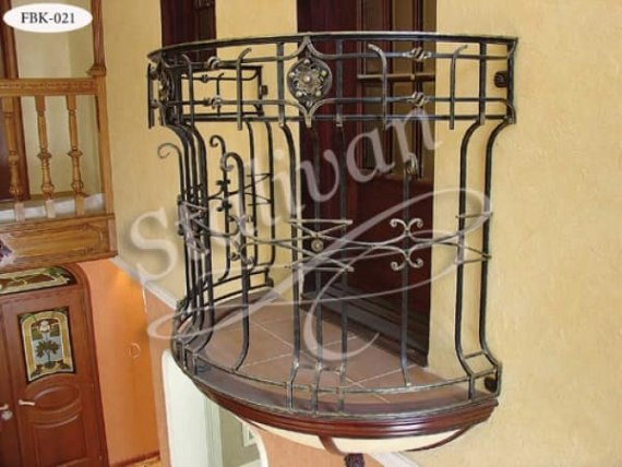 Ограждение балкона с элементами ковки FBK-021 - фото 1