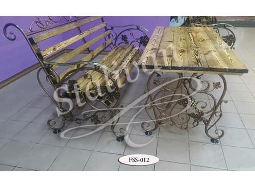 Комплект: кованая скамейка со столом FSS-012 - фото 1