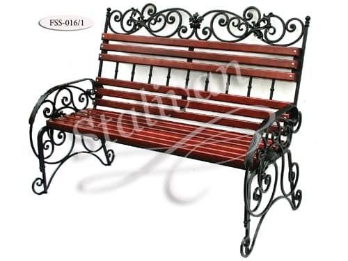 Кованая скамейка со спинкой FSS-016 - фото 1