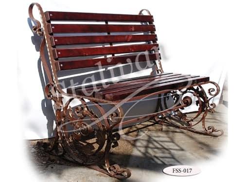 Кованая скамейка со спинкой FSS-017 - фото 1