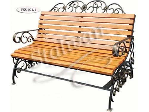 Кованая скамейка со спинкой FSS-021 - фото 1
