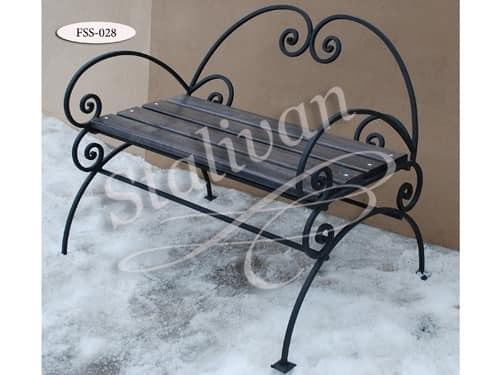 Кованая скамейка со спинкой FSS-028 - фото 1