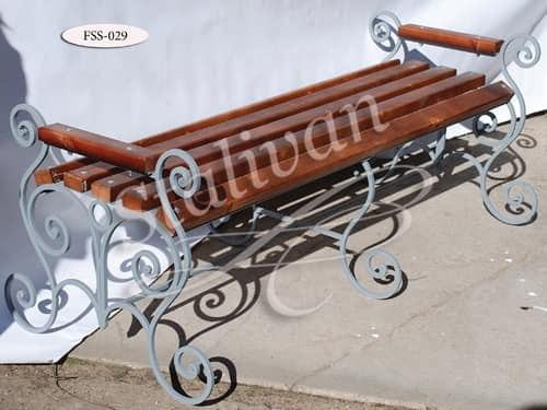 Кованая скамейка со спинкой FSS-029 - фото 1