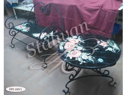 Кованый стол с росписью FPI-105-1 - фото 1