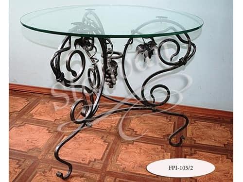 Кованый стол FPI-105-2 со стеклянной столешницей - фото 1