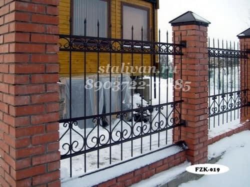 Забор с элементами ковки FZK-019 - фото 1