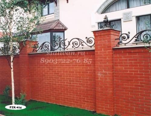 Забор с элементами ковки FZK-024 - фото 1