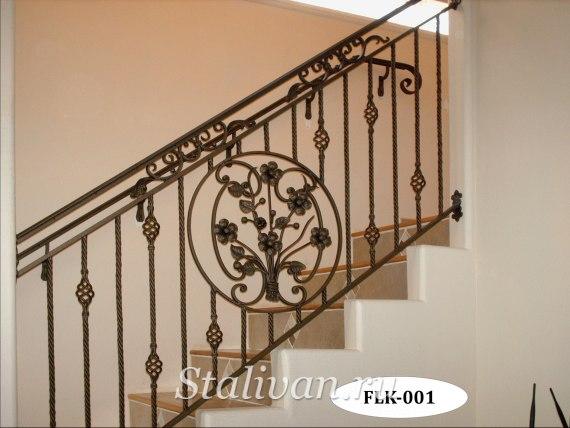 Кованые перила (лестничные ограждения) FLK-001 - фото 1