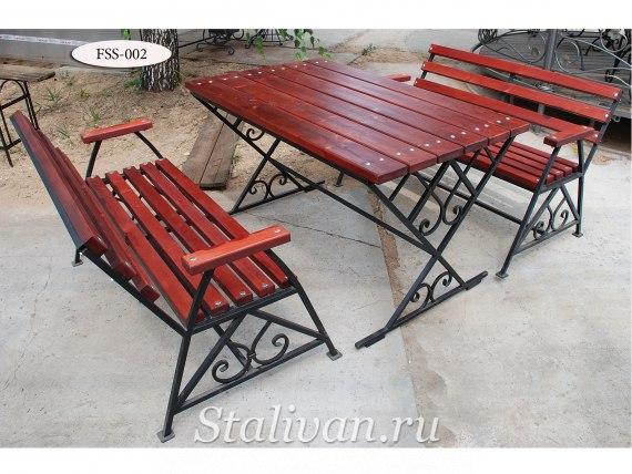 Комплект: кованая скамейка со столом FSS-002 - фото 1