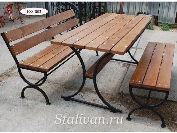 Комплект: кованая скамейка со столом FSS-003 - фото 2