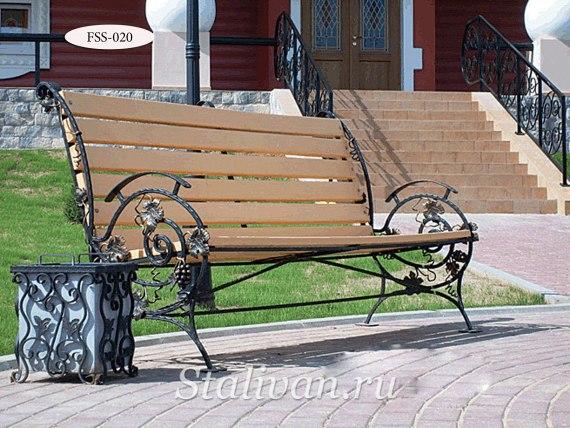 Кованая скамейка FSS-020 - фото 1