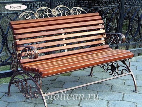 Кованая скамейка FSS-021 - фото 1