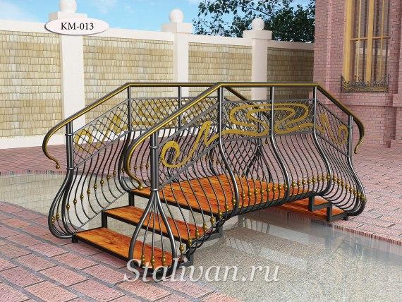 Кованый мостик со ступенями и деревянным настилом KM-013 - фото 1