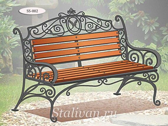 Скамейка с ковкой SS-002 - фото 1