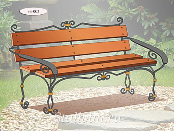 Деревянная скамейка с элементами ковки SS-003 - фото 1