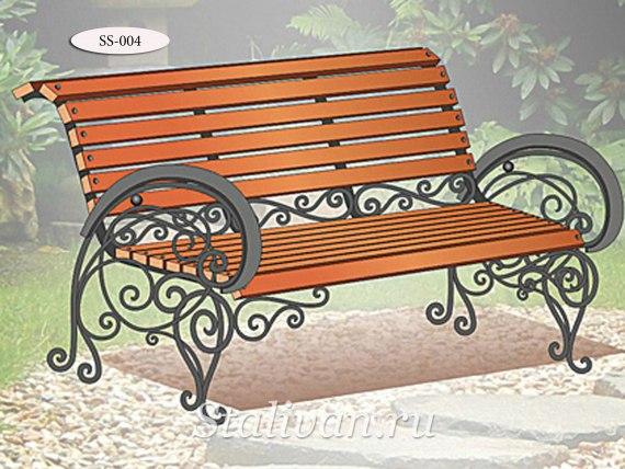 Скамейка с художественной ковкой SS-004 - фото 1