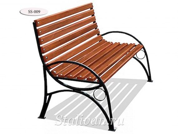 Деревянная скамейка с ковкой SS-009 - фото 1