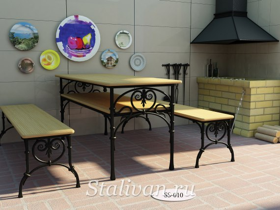 Комплект: кованая лавочка со столом SS-010 - фото 1
