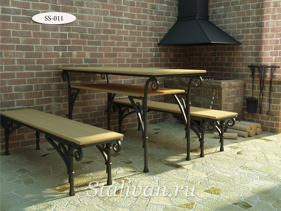 Комплект: лавочка с ковкой и стол SS-011 - фото 1