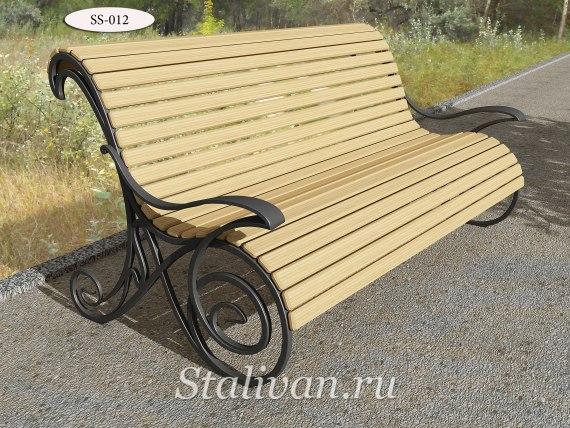 Скамейка с элементами ковки SS-012 - фото 2