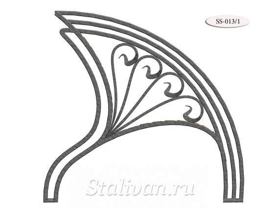 Деревянная скамейка с художественной ковкой SS-013 - фото 1